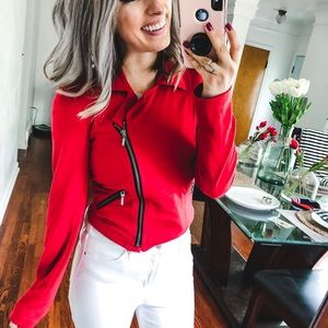 Charlotte Russe Red Zip Blazer Small